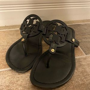 Tory Burch Black Leather Millers 9